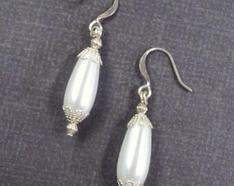 Silver Filigree White Pearl Teardrop Earrings