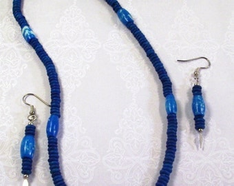 Handmade Turquoise   Necklace and Earrings Bone and Horn
