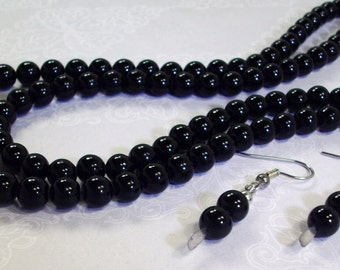 Double Stranded Black Gemstone Necklace and Earrings