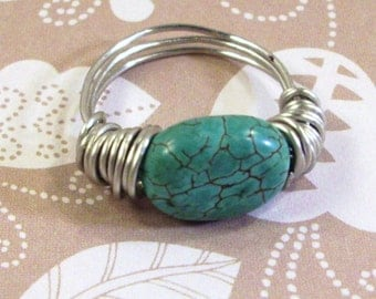 Silver wrapped Turquoise Disc Ring size 8 1/2