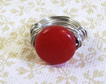 Ruby Red and Silver Ring