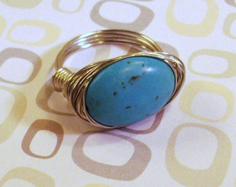 Silver Wire wrapped Blue Turquoise Ring Size 8 1/2