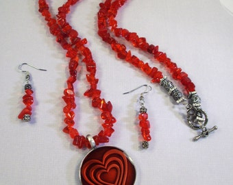 Handmade Cherry Red Glass Chip  Necklace and Earrings