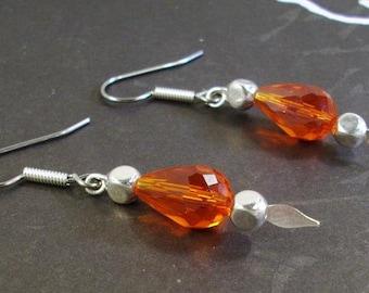 Red Faceted Teardrop Silver  Spear Earrings