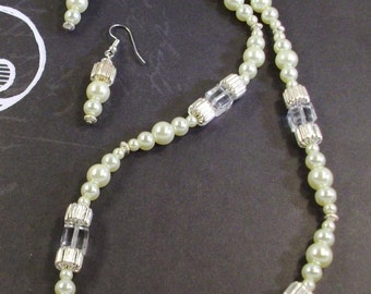 Yellow  Pearls, silver and Large Crystal Necklace and Earrings