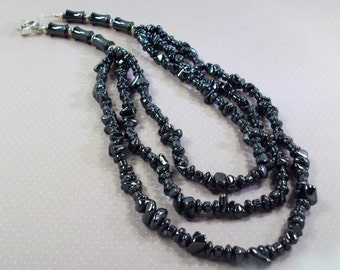 Triple Stranded Gunmetal Black Nugget Necklace