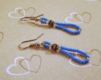 Turquoise and Silver Seed Bead Earrings