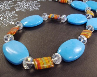 Large HowliteTurquoise with Colorful African beads and Crystals Necklace