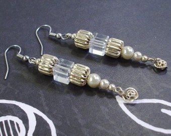 Beige Pearls and Silver  Earrings with Crystals and Filigree Drops