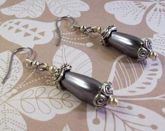 Silver Pearl Teardrop and Silver  Earrings