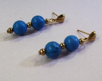 HandmadeTurquoise and Gold Post Earrings