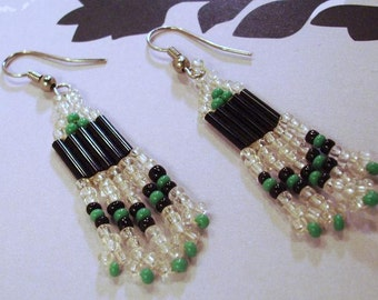 A Little Patience Black,Green,transparent Glass Seed Bead Earrings