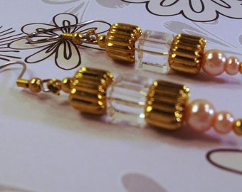 Gold and Hot Pink Pearls and Crystal Earrings