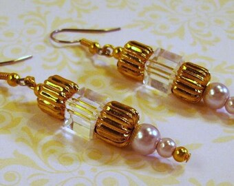 Gold and Lilac Pearls and Crystal earrings
