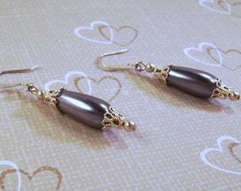Silver and PewterPearl Filigree earrings