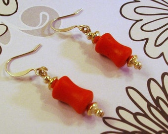 Red Turquoise and Silver earrings