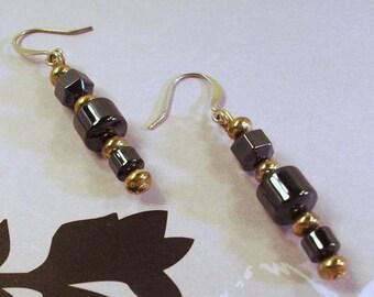 Gunmetal black and silver disc earrings