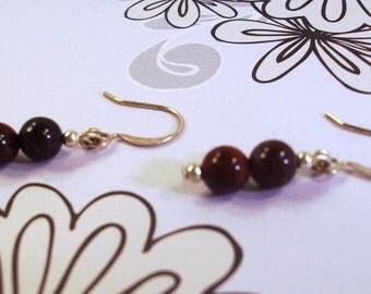 Brown Gemstone and silver earrings