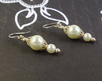 Yellow Pearls and silver Filigree earrings