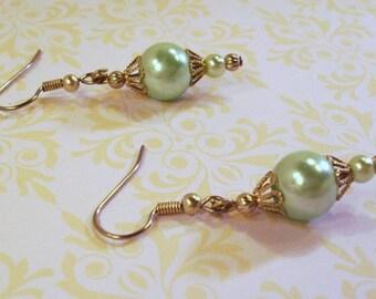 Double Mint Green Glass Pearl Filigree Earrings