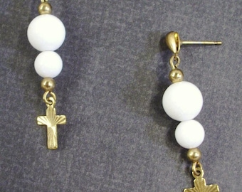 White Gemstone and Gold Lazar Cut Cross Post Earrings