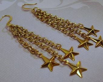 Long Gold Chain Shooting Star Earrings