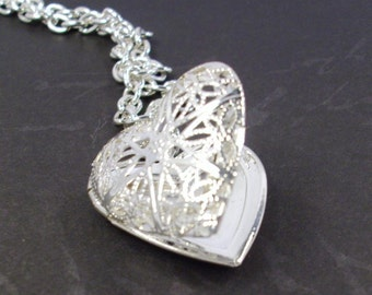 Silver Heart Locket Silver Chain Necklace