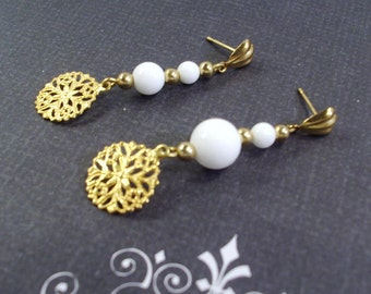 White Gemstones and Gold Snow flake post earrings Christmass earrings