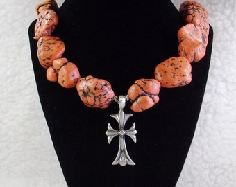 Extra Large Red chunky Turquoise Nugget and Silver Necklace with Cross pendant