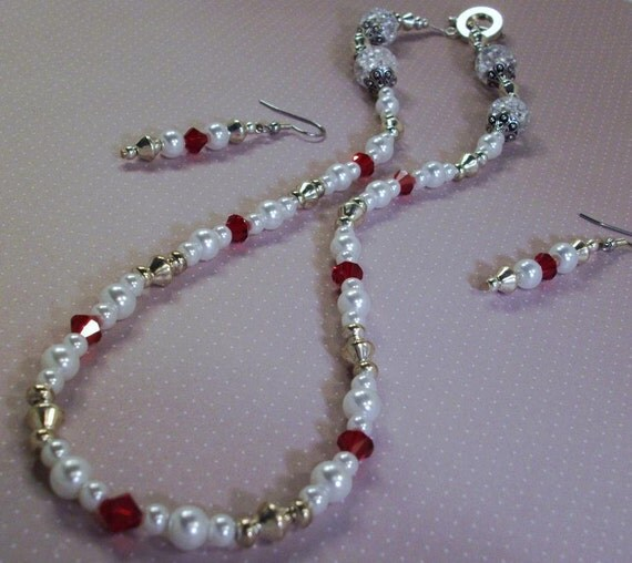 Handmade White Pearl Necklace with Red Crystals Naughty Or Nice