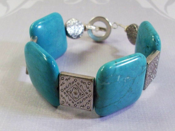 Blue Turquoise and Silver Bracelet