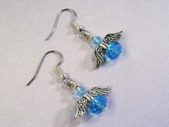 Baby Blue Crystal and Silver Angel Christmas Earrings