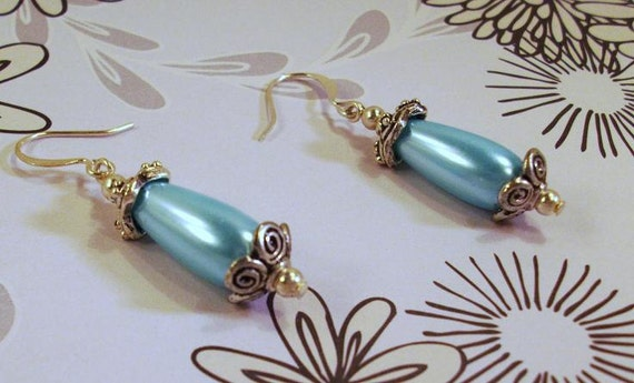 Blue Turquoise Pearl Teardrop and Silver  Earrings