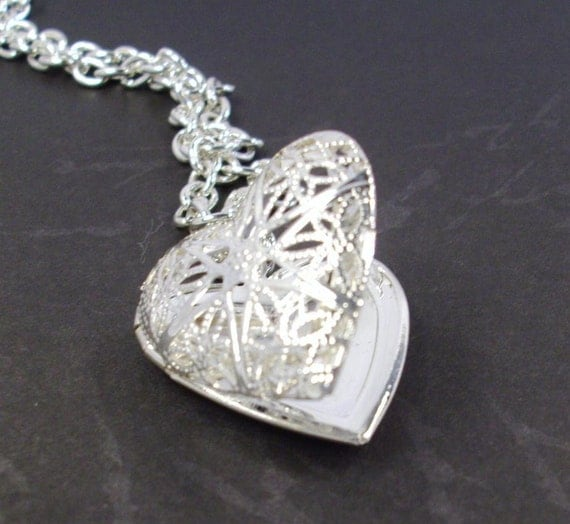 Silver Heart Locket Silver Chain Valentine Necklace