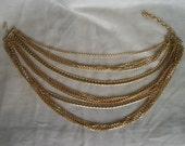 Reserve for Binru: Vintage Multi Strand Necklace - Gold Tone - Western Germany