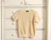Vintage 1970's-1980's Creamy Crocheted Sweater Blouse