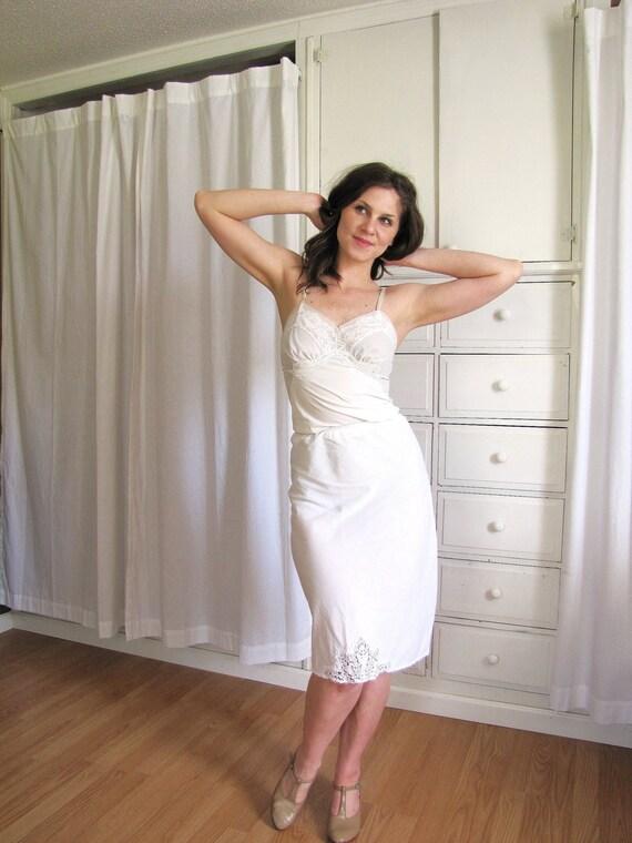 Vintage 1950 S White Cotton Half Slip Chemical Lace Slip