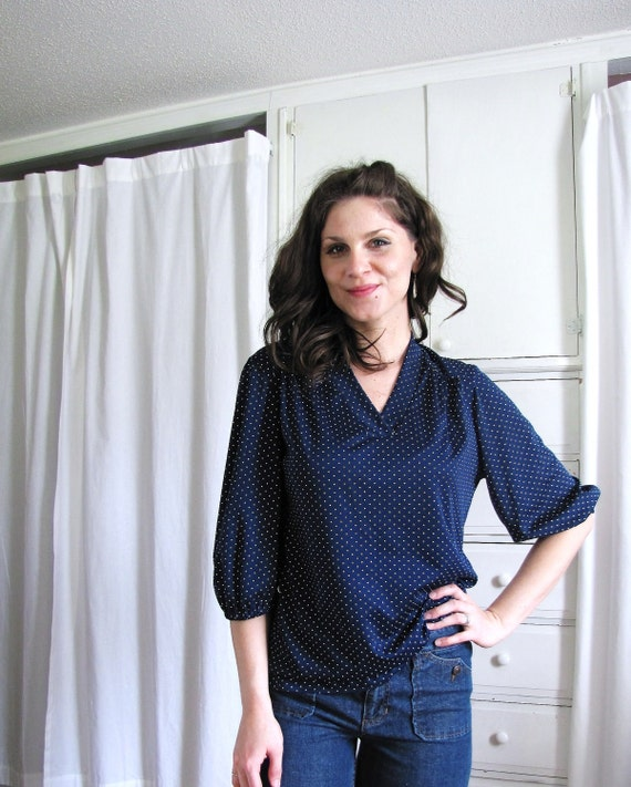 Vintage 1970's Navy Blue Polka Dot Blouse