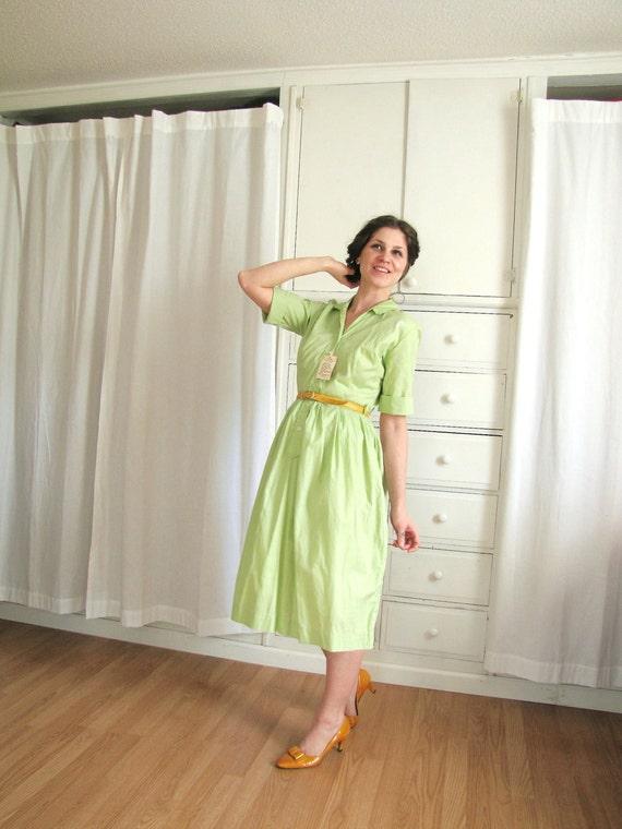 Vintage 1950's-1960's Key Lime Pie Shirtwaist Dress