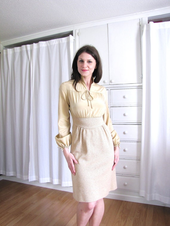 Vintage 1960's Beige Office Dress / Mad Men Secretary Dress