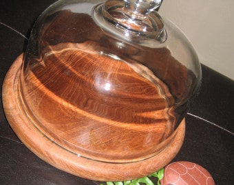 Vintage Glass Dome Cloche with Teak Wood Serving Tray  --sale--
