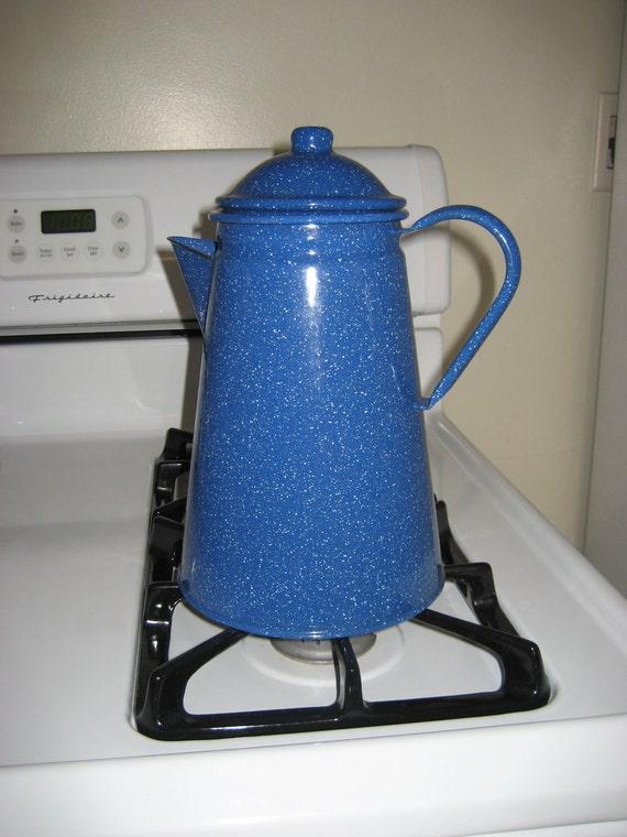 Vintage Enamelware Farmhouse Coffee Pot  Kettle