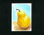 Original Watercolor ACEO - Pear - Free Shipping
