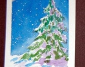 Original Hand Painted Watercolor ACEO - Moonlit Evergreen - LT4