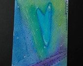 Those Blue, Blue Eyes - Heart Story ACEO Hand Painted - Free Shipping