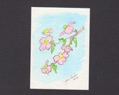 Blossoms - ACEO Original Watercolor Pink Blue Free Shipping