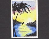 ACEO Watercolor Original Hand Painted - Setting Out - Free Shipping