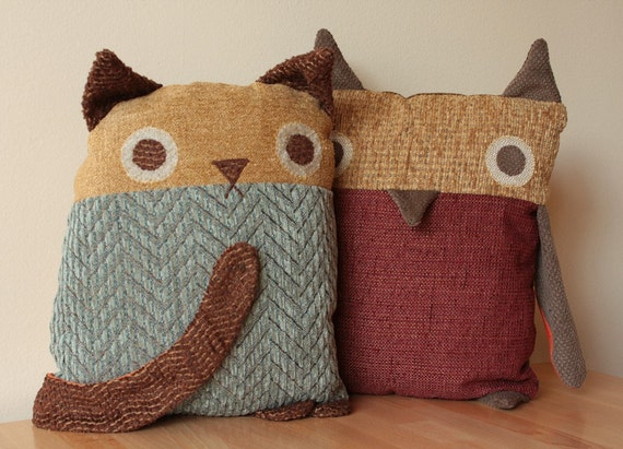 Set of TWO Critter Pillows - You Choose the Colors - Cats or Owls or Foxes - You Pick