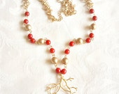 Branch Charm, Red & Gold Glass Beads,