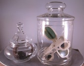 Set of Two Vintage Apothecary Glass Jars